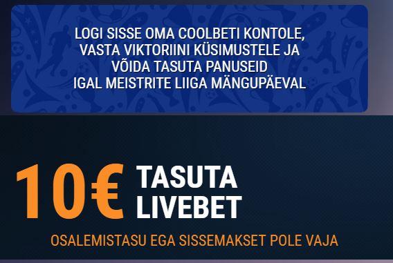 Meistrite Liiga Viktoriin Coolbetis – Saa 10€ Tasuta Livebet