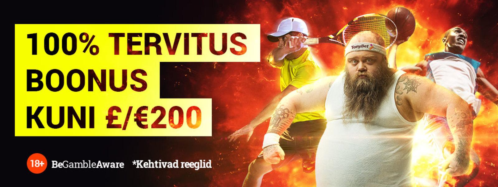 TonyBet Spordi Tervitusboonus: 200% kuni 200€